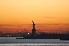 Smokey Sunset in New York Harbor Royalty Free Stock Photos