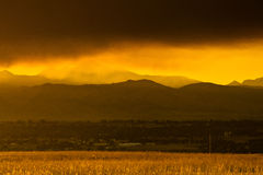 Smokey Sunset Over Boulder Royalty Free Stock Photos