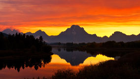 Smokey Sunset at Oxbow Bend Stock Photography