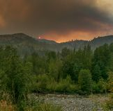 Smokey sunset. In Washington state from forest fires Royalty Free Stock Photos