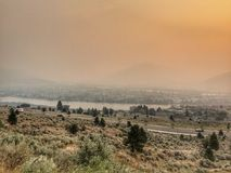 Smokey view of the city of Kamloops Stock Image