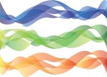 Smokey waves. Set of three smokey waves in blue, green and orange Stock Photo