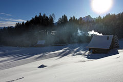 Smokin log cabin Stock Photo