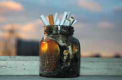 About smoking. Can full of cigarettes ends Royalty Free Stock Images