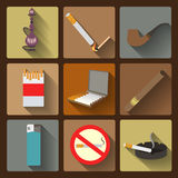 Smoking and accessories icons set Royalty Free Stock Image