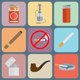 Smoking and accessories icons set. Vector illustration Stock Photos
