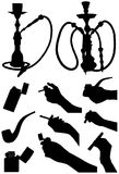 Smoking accessories. The image contains the silhouettes of the hookah, lighters, pipes, human hand, holding a cigarette and a cigar Royalty Free Stock Image