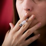 Smoking addict Stock Photography