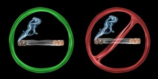 Smoking allowed and forbidden. Two abstract smoke signs signalling smoking allowed and smoking forbidden Stock Photo