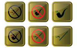 Smoking allowed/not allowed. Signs on gold background  eps10 graphic Stock Image