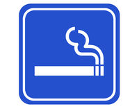 Smoking area. A typical blue sign indicating a smoking area vector illustration