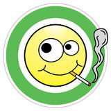 Smoking area sign. Smoking happy smiley, symbol of smoking area. Funny vector illustration royalty free illustration