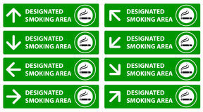 Smoking area sign, arrow pointer. Vector illustration Royalty Free Stock Images