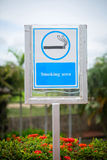 Smoking area sign. Blue sign Smoking area. Post stock illustration