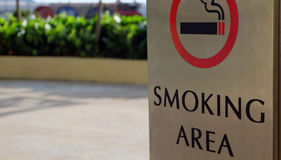 Smoking area zone. Photo showing a dedicated smoking area zone outside a shopping complex in Malaysia Stock Image