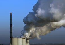 Smoking atomic power plant in europe royalty free stock photos