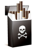 Smoking is bad for your health. Black pack of cigarettes with the image of the Jolly Roger (human skull with the crossed bones). Smoking is bad for your health Stock Photography