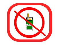 Isolated no smoking ban with pack of cigarettes Stock Photo