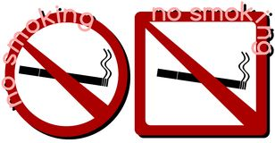 Set of no Smoking ban isolated royalty free stock photography