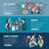 Smoking Banner Set Stock Images