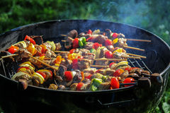 Smoking Barbecue Grill Kabobs Royalty Free Stock Images