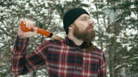 Smoking bearded man stock video
