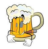 Smoking beer cartoon Stock Photo