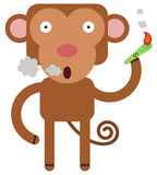 Smoking the bill. Illustration of a monkey using a dollar bill as a cigarette Royalty Free Stock Photos