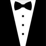 Smoking blanco y negro de la corbata de lazo Foto de archivo libre de regalías