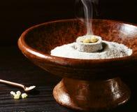 Smoking bowl. An incense censer burning mastic Royalty Free Stock Images