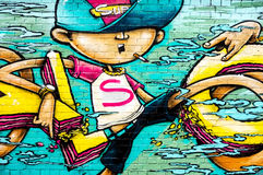 Smoking boy graffiti Royalty Free Stock Images
