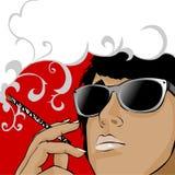 Smoking brunette stock image