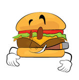 Smoking Burger cartoon Royalty Free Stock Images