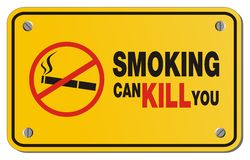 Smoking can kill you yellow sign - rectangle sign Royalty Free Stock Photos