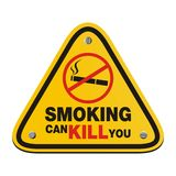 Smoking can kill you - yellow sign Vector Illustration