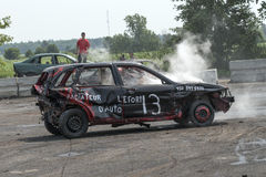 Demolition derby. Napierville demolition derby, July 12, 2015, picture of wrecked and smoking car during the demolition derby royalty free stock image
