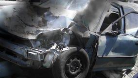 Smoking Car Wreck stock video
