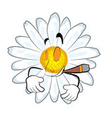 Smoking chamomile flower cartoon Royalty Free Stock Image