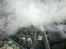 Smoking chimney, aerial view Royalty Free Stock Images