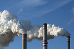 Smoking chimney of coal power plant Stock Photography