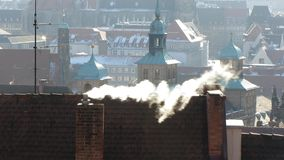 Smoking Chimney on Cold Day stock footage
