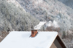 Smoking chimney at winter forest background Royalty Free Stock Image