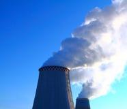 Smoking chimneys. Heat Electric Station stock photo