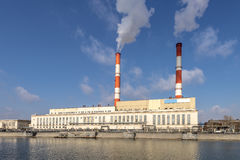 Smoking chimneys CHP. In Moscow Royalty Free Stock Photography