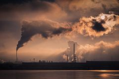 Smoking chimneys of a metallurgical plant.  royalty free stock photos