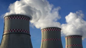 Smoking chimneys of power plant stock footage