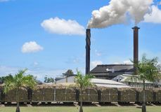 Smoking chimneys of Tully Sugar Mill Stock Photo