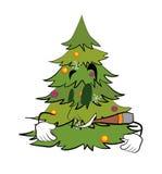 Smoking Christmas tree cartoon Royalty Free Stock Photo