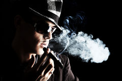 Smoking a cigar Royalty Free Stock Image