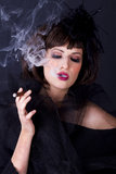 Smoking cigar Royalty Free Stock Photos